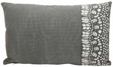 Charcoal Country Lace Rectangle Cushion