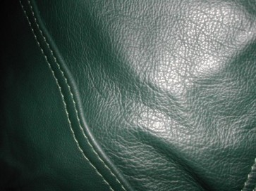 Green Leather Beanbag Round Pod - 10 Panel