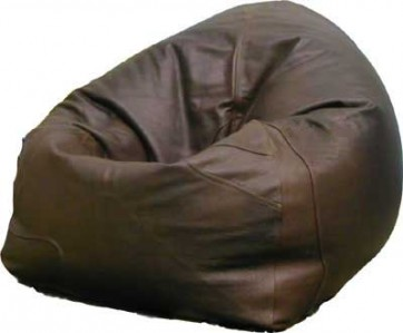 Brown Leather Chair Beanbag - Front View