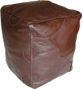 Brown Leather Cube Footstool