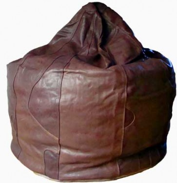 Chocolate Brown Leather Beanbag Pod - 8 Panel