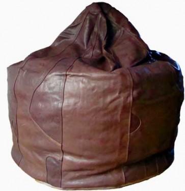 Chocolate Brown Leather Beanbag Pod - 8 Panel