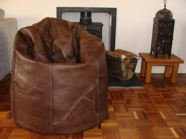 Brown Leather Beanbag Pod
