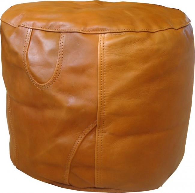 Tan Leather Pouffe Footstool The Lounge About Company