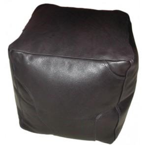 Big Black Large Leather Cube Footstool