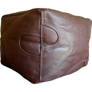 Premium Leather Cube Footstool - Brown