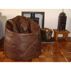 Brown Leather Beanbag Pod - 7 Segment