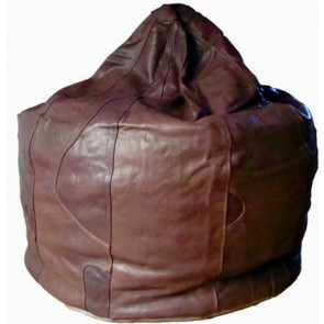 Chocolate Brown Leather Beanbag Pod