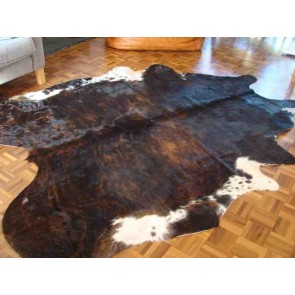 Big Dark Brown Brindle Cowskin Rug