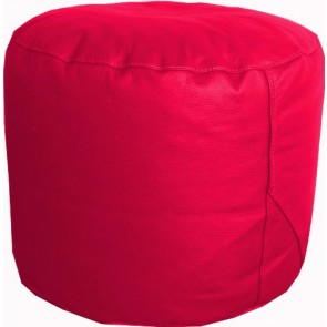 Raspberry Red Leather Pouffe Footstool