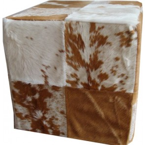 tan and white cowhide / cow skin cube footstool