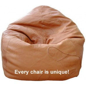Handcrafted Tan Leather Beanbag Chair
