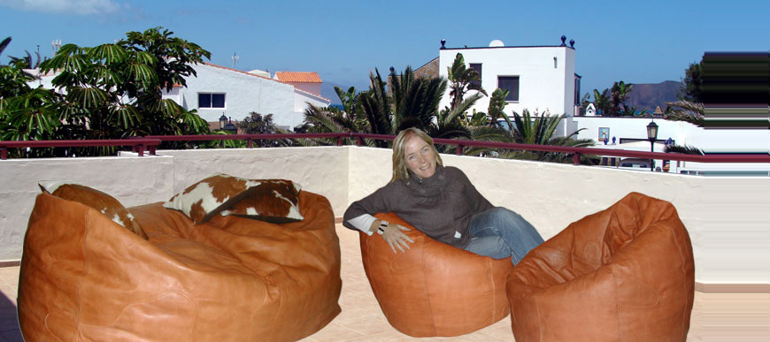 Handcrafted Leather Sofa and Pod Beanbags from our Low Level Living range.